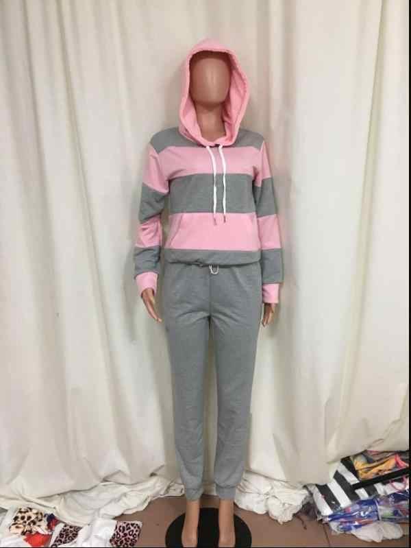 2019 Vrouwen Winter Vrouwen Set Trainingspak Volledige Mouw Hoodied Sweatshirt Zakken Broek Pak Twee Delige Set Outfits Sweatsuit