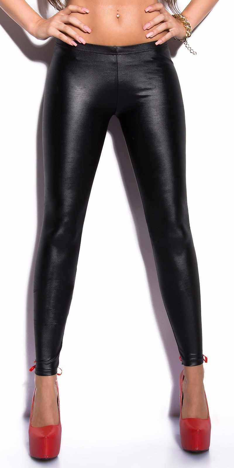 Phụ Nữ Ren Băng Lông Da Đen PVC Quần Legging Gót Tôn Sùng PU Giả Da Quần Skinny PUNK ROCK Ướt Nhìn câu Lạc Bộ Khi Mặc