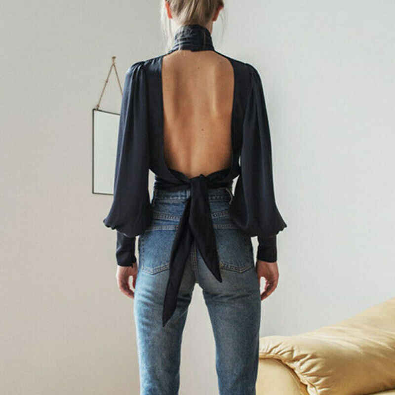 Vrouwen Blue Open Back Sexy OL Werk Sexy Satin Puff Mouwen Hoge Hals Backless Tie Blouse Party Shirt Tops Crop top 2 Kleuren