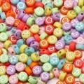 Разноцветные акриловые бусины 7 мм, Смешанные Круглые бусины с отверстиями в форме цветка, Луны, звезды, сердца для изготовления ювелирных и...
