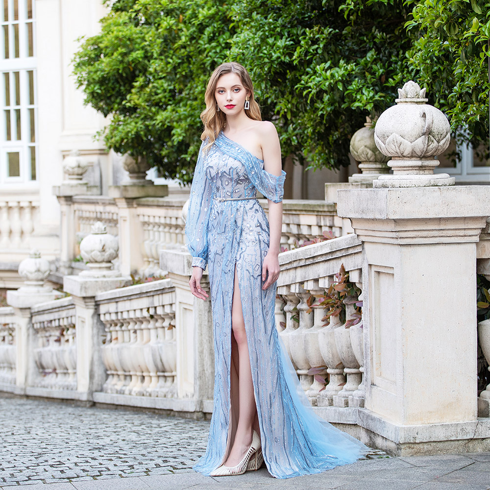 Fashion Blue One Shoulder Evening Dress Long Sleeve Embroidered Rhinestones Evening Gown Competition Slit Left