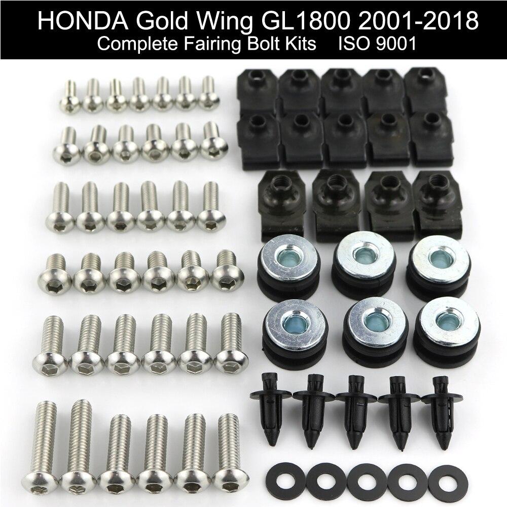 For Honda GL1800 GOLDWING 2001-2018 Complete Full Fairing Bolt Kit Bodywork Windscreens Screws Clips Speed Stainless Steel