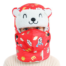 Cute Animal Kids Bomber Hats Winter Boys Girls Cap with Scarf Neck Cotton Snow Earflaps Russian Mask