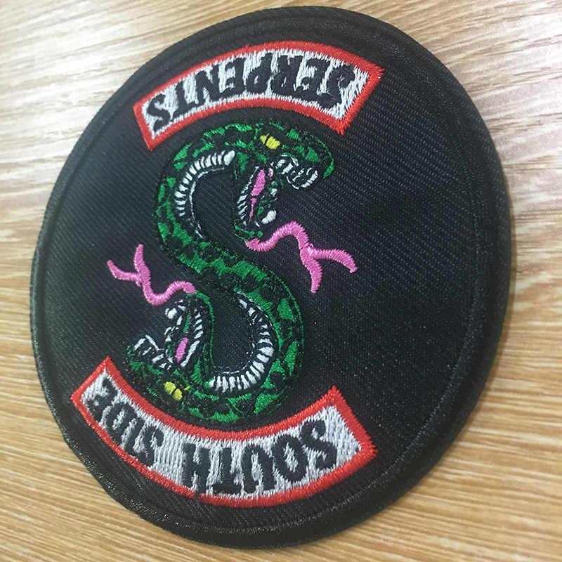 Punk Green Snake Patches Wärme Transfer Jacke Applique Eisen Auf Aufkleber Für Kleidung Riverdale South Side Serpents Patch