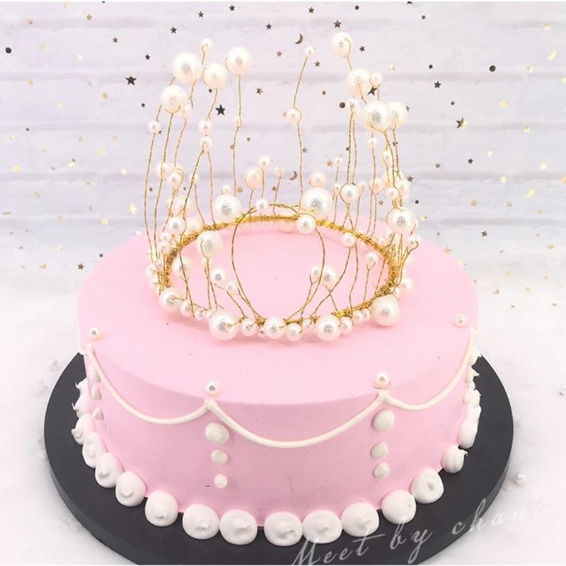 Coroa tiara bolo topper com led luzes de fadas cristal pérola crianças enfeites de cabelo para festa de aniversário do casamento decoração do bolo