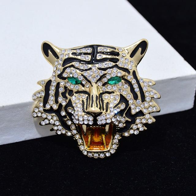 CINDY XIANG-broches Vintage con cabeza de tigre y leopardo, broche de Animal vívido, Pins, joyería de cristal con diamantes de imitación para hombres y mujeres 4