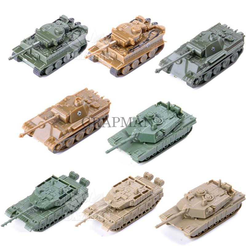 1/144 WWII German Leopard Tiger Tank USA M1A2 China 99 4D Sand Table Tanks Plastic Finished Model Kit Toys For Boy