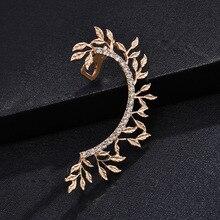 HOT Leaves Clip on Earrings No Pierced Non Piercing Fashion Gold Leaf Ear Cuff with Rhinestone Crystal Earcuff for Women Jewelry