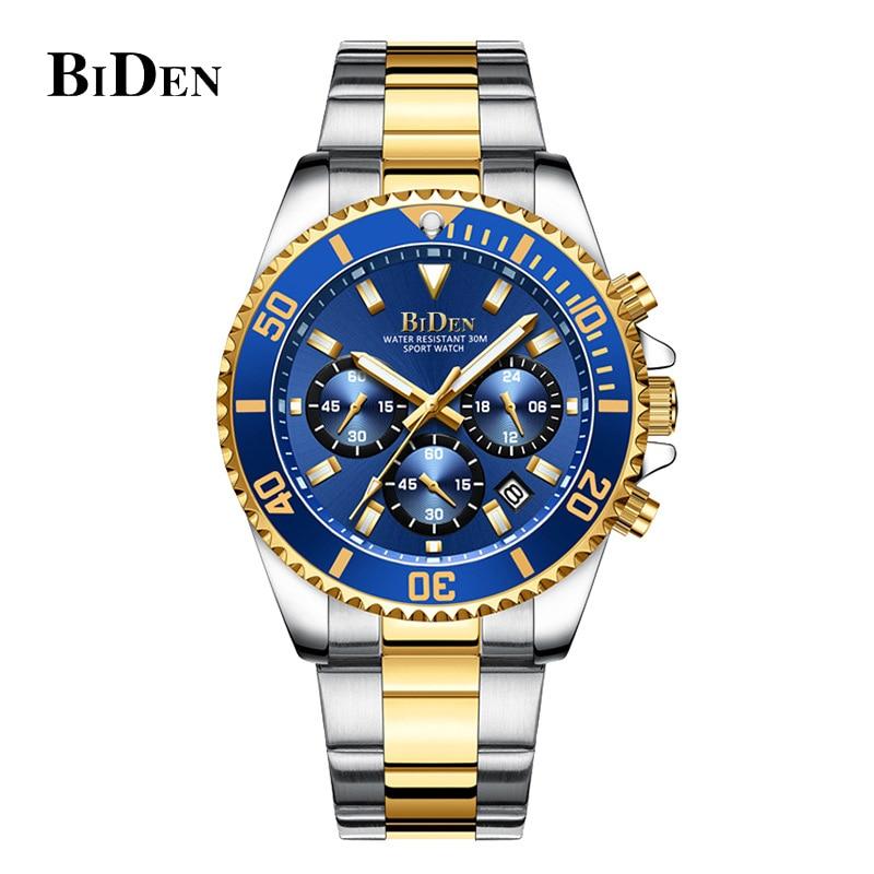BIDEN Luxury Mens Watches Sports Chronograph Waterproof Analog 24 Hour Date Quartz Watch Men Rolexable Wrist Watches Clock 2020