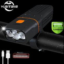 5200 мАч велосипедные фары светильник l2/t6 светодиодный головной