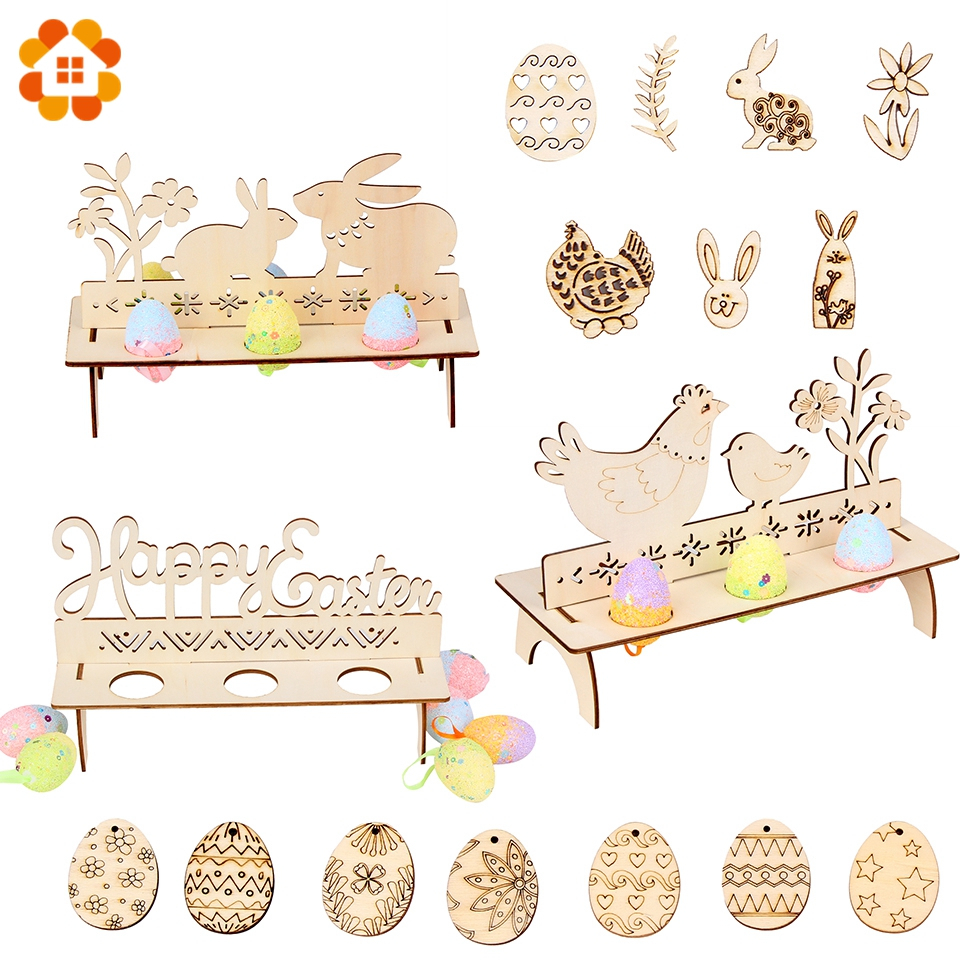 New 1Set DIY Wooden Egg Stand Easter Decoration Easter Egg Stand Rabbit Doodle Wood Chip Happy Easter Party Table Decoration