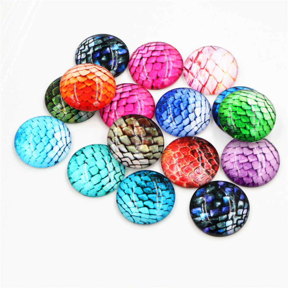 Hot Sale 10pcs 25mm New Fashion Mixed Handmade Glass Cabochons Pattern Domed Jewelry Accessories Supplies-F7-47