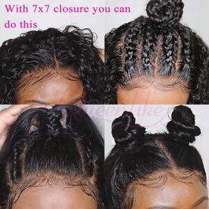 Image 2 - Büyük 7x7 kapatma ve 3 demetleri Remy insan saçı örgüsü demetleri ile Frontal brezilyalı düz saç demetleri ile 7*7 kapatma