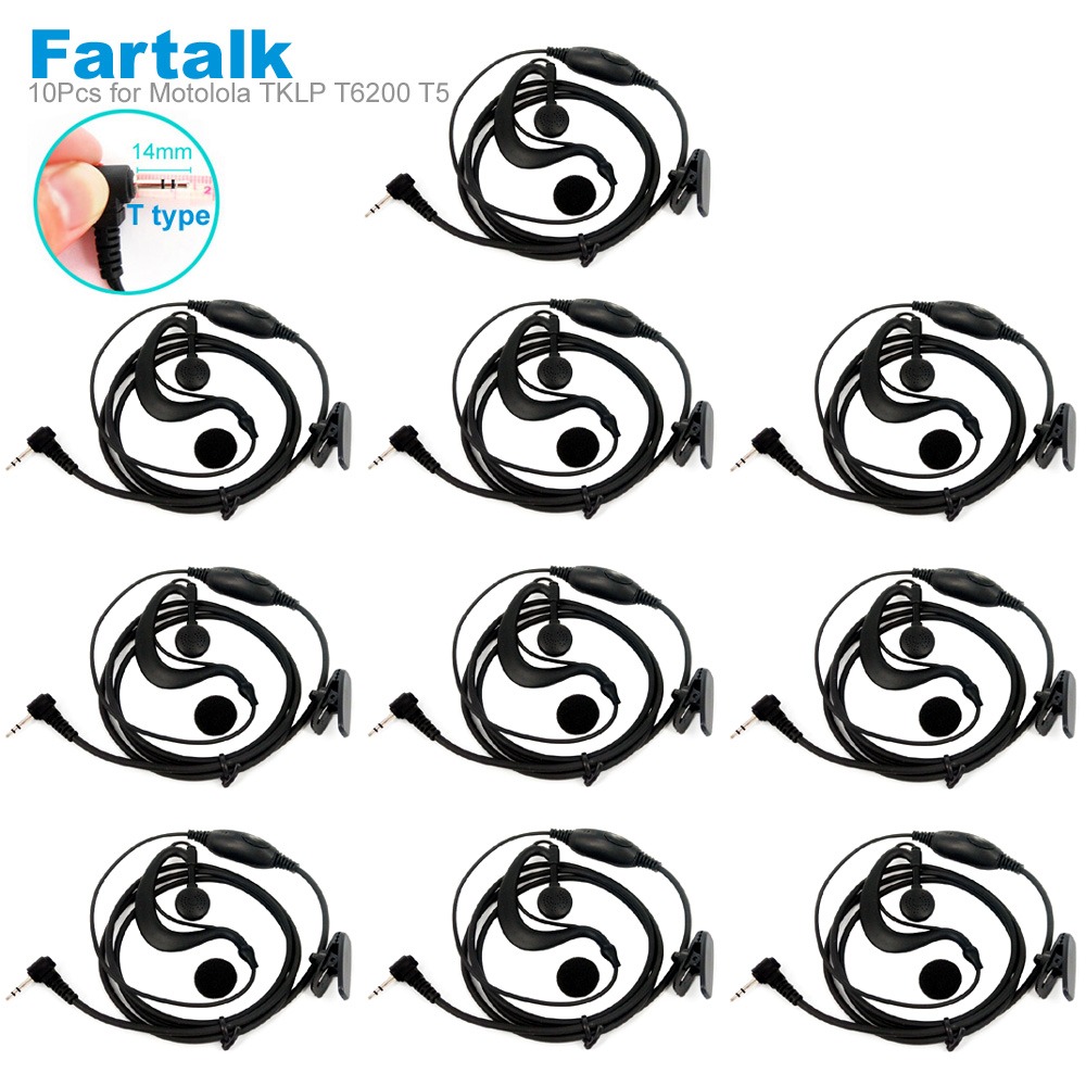 10PCS Headset Earhook Earpiece Mic For Motorola Talkabout Radio TLKR T4 T5 T6 T6200 T6220 T280 T5900 FR50 Walkie Talkie