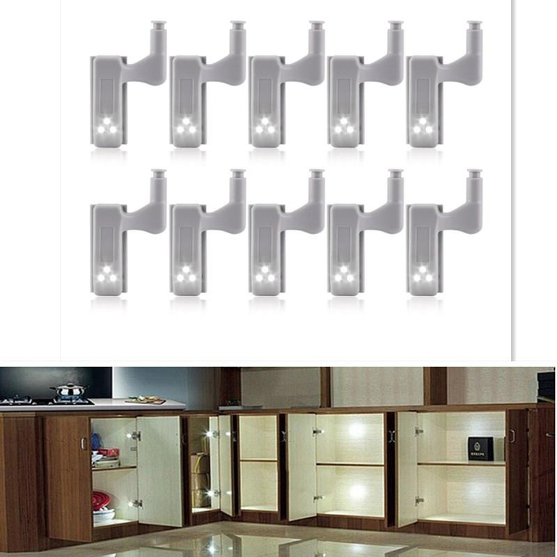 10Pcs LED Smart Touch Induction Cabinet Light Cupboard Inner Hinge Lamp Sensor Light Night Light For Closet Wardrobe