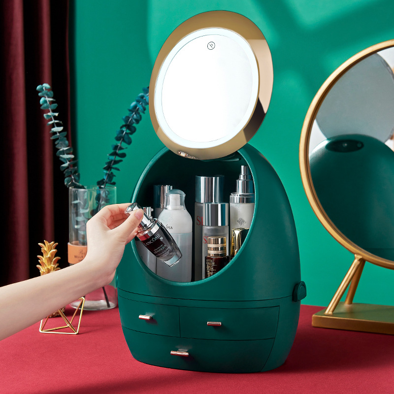 new led cosmetic case hd mirror luxury makeup storage box home dressing table skin care organizer large toiletries plastic bin