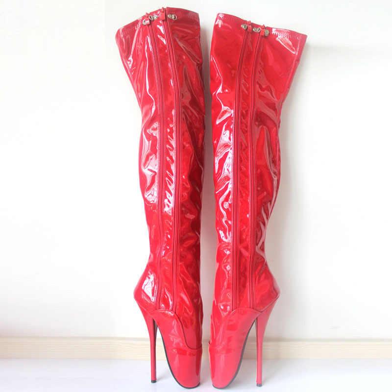 """חדש 18 CM/7 """"עקב גבוה אקסטרים בלט ספייק עקבים יוניסקס slim מעל הברך ריקוד מסיבת botas מגפי-אקזוטי, פטיש, נעליים סקסיות"""