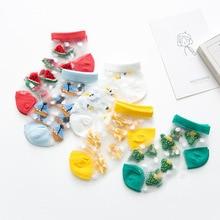 YOOAP 5 pairs  transparent socks crystal dot Fluorescence childrens Short cotton baby summer girls boys
