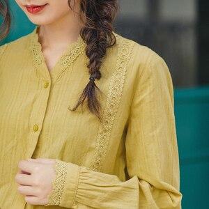 Image 4 - INMAN, весна 2020, Новое поступление, Литературная Женская хлопковая блузка с v образным вырезом, цветочным кружевом, в стиле пэчворк, с длинным рукавом, женская элегантная блузка