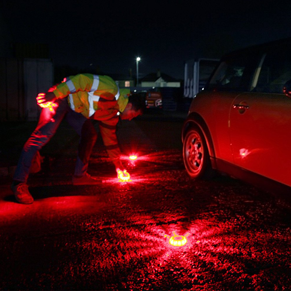 Geoeon LED Emergency car Lights Road Flares Warning Night Lights Roadside Disc Beacon  Red Blue Led Police road Led Light 6