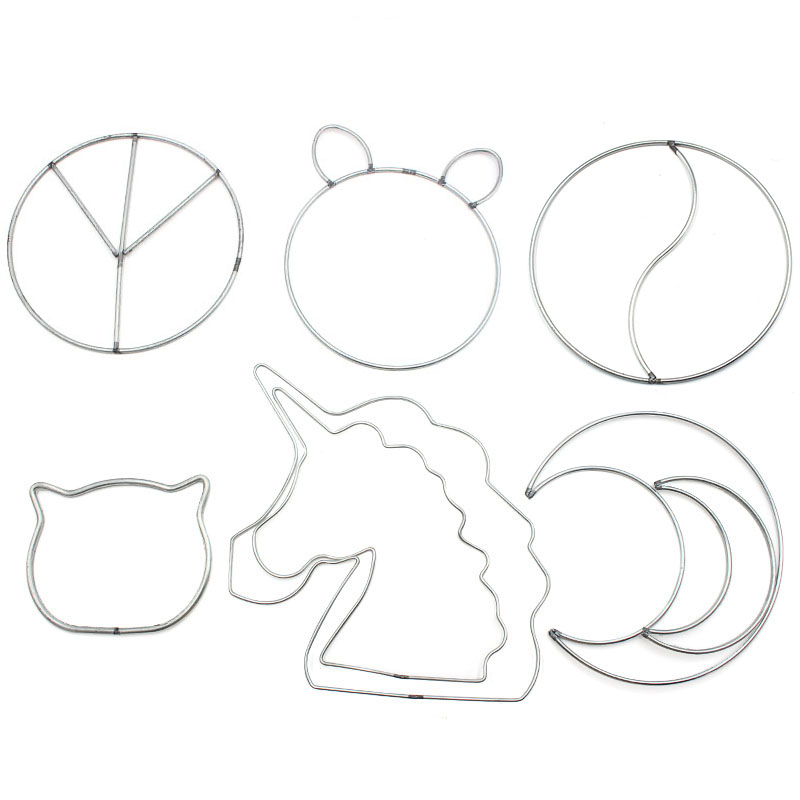Irregular Iron Ring Cute Dreamcatcher Hoop Unicorn Cat Moon Special-shaped Rings DIY Dreamcatcher Handmande YIYANG TAIJI Symbol