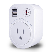 купить Dual USB Port 2.1A Wall Charger Power Adapter Travel Socket Switch With AC Outlet EU/US/UK Plug Socket Surge Protect Panel дешево