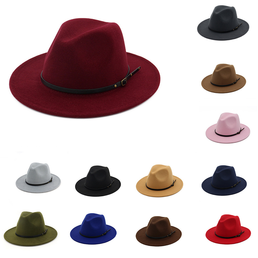 Hat Bucket-Hat Chapeau Felt Wool Sombreros Feminino Wide-Brim Women's Outback Caps Belt title=