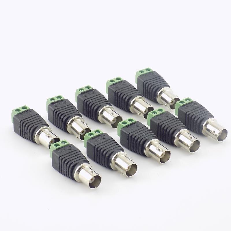 100pcs BNC Female Connectors Coax Cat5 Cable  Video Balun Connector Plug Adapter BNC Plug UTP For CCTV Camera