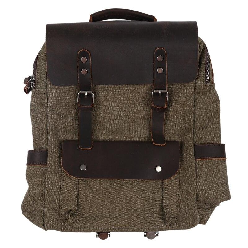Sacs à dos Vintage en cuir de toile pour hommes 14 pouces sacs à dos pour ordinateur portable sacs à dos en toile imperméable grands sacs à dos de voyage cirés