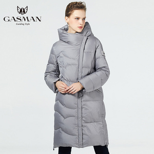 Image 5 - GASMAN 2019 נשים החורף שחור מעיל בתוספת גודל אופנה דובון סלעית חם מעילי מעילי נקבה ארוך המשאף למטה מעיל 19022