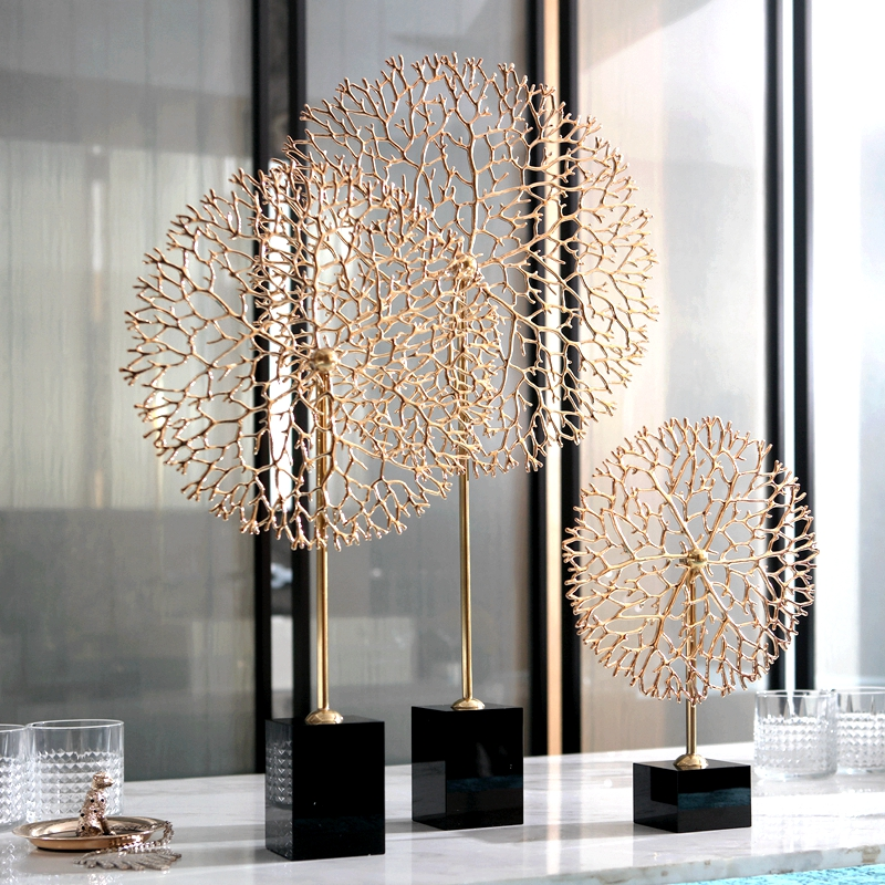 Copper Coral Statue Craft Decorations Christmas Decorations For Home Black Crystal Sculpture Escultura Home Decor Accessories