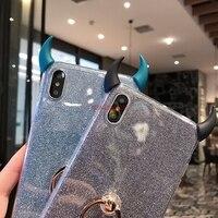 Caso di scintillio Per Huawei P8 Lite 2017 P9 P10 P20 P30 P40 Lite E Pro Plus + 5G Del Telefono custodie Demone Diavolo Corno del Supporto Della Copertura Coque
