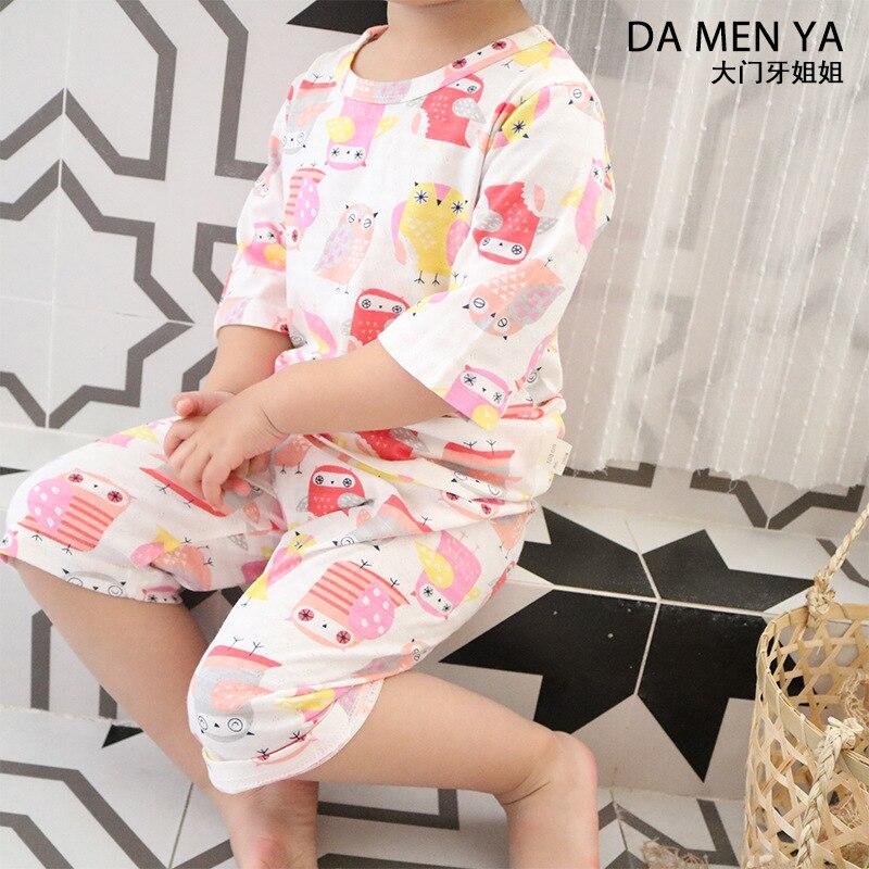 Children Pure Cotton Pajamas Jacquard Boys And Girls Tracksuit Case Cute Cartoon Mainland China Short Sleeve Pants Baby