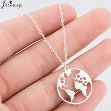 Jisensp Stainless Steel Pendant Necklace Vintage Design Origami Earth Choker Necklace for Women Men Fashion Jewelry Gift(China)