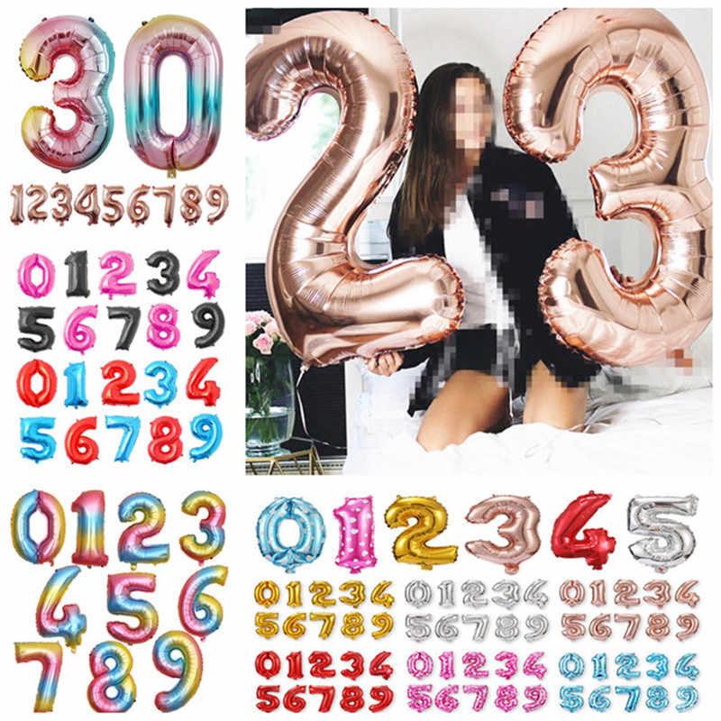 32 Polegada Ouro Rosa Grande Foil Número Balão Decorações Da Festa de Aniversário Balões de Ar Globos Figura Balões Feliz Aniversário Ballon