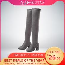 QUTAA 2020 النساء فوق حذاء برقبة للركبة مربع عالية الكعب النساء الأحذية منصة الشتاء كل مباراة مثير النساء الأحذية حجم 34 43
