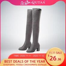 Qutaa 2020女性の膝の高ブーツの正方形ハイヒール女性の靴プラットフォーム冬のすべてのマッチセクシーな女性のブーツサイズ34 43