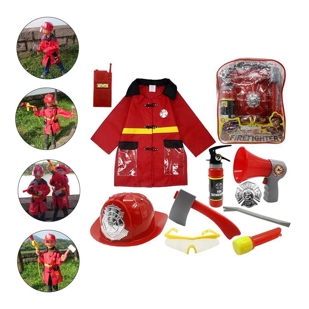 11 шт., костюм пожарного для ролевых игр, костюм пожарного для мальчиков, нарядный Детский карнавальный костюм пожарного, маскарадный костюм