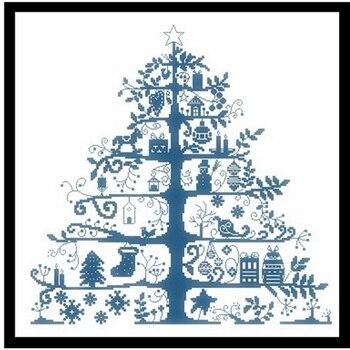 Árbol de Navidad Paquete de punto de cruz planta simple 18ct 14ct 11ct tela algodón bordado de hilo DIY hecho a mano costura