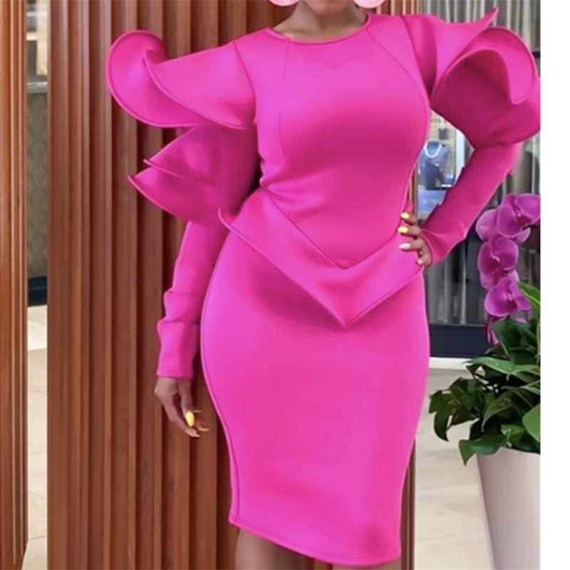 Hot Pink New Fashion Cocktail Dresses High Neck Long Sleeves Dubai Arabic Ruffles Sexy Party Gown Cheap Price High Quality