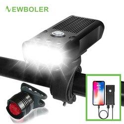 Велосипедный светильник NEWBOLER 2000Lums L2/T6, Перезаряжаемый USB, 5200 мА/ч, велосипедный светильник, водонепроницаемый Светодиодный светильник на го...