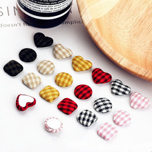 6pcs DIY handmade jewelry accessories houndstooth lattice square round love buckle earrings material pendant