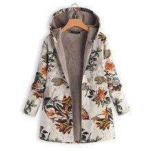 Chaqueta de mujer Abrigos con capucha con estampado Floral bolsillos con capucha 2019 invierno prendas de vestir polar piel caliente Vintage Oversize Abrigos Mujer Parkas