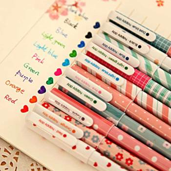 10 Pcs/Set Color Pen Flower Animal Starry Star Sweet Flora Colored Gel Pen 0.5mm Cute pens for school Kawaii Korean Stationary