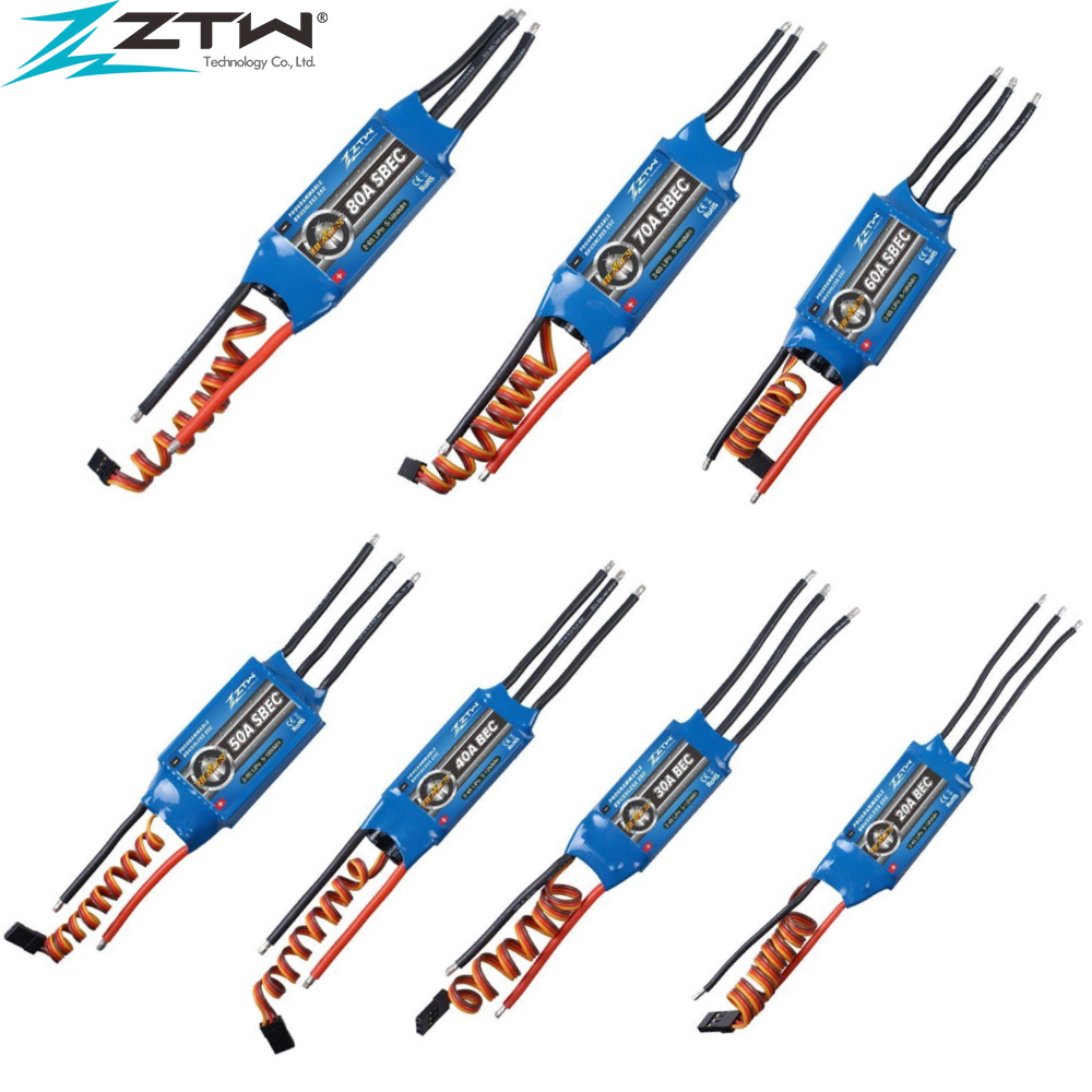 ZTW Beatle Series 2-6s 20A 30A 40A 50A 60A 80A Great Value Speed Controller ESC With Programe Card For RC Drone RC Helicopter