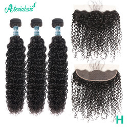 Asteria mechones rizados brasileños con cierre Frontal mechones de cabello humano con Frontal Pre desplumado 13x4 de encaje Frontal Remy