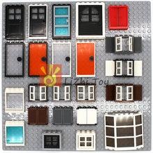 Moc tijolos paisagem arquitetura portas e windows diy bloco de inteligência compatível com todas as marcas monta partículas
