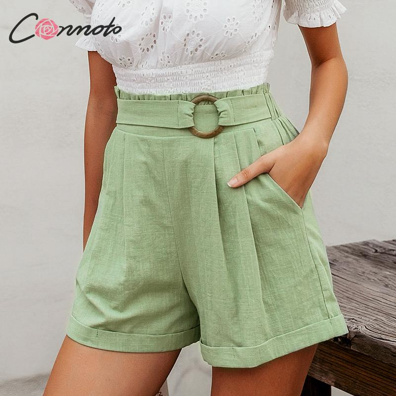 Conmoto Summer 2020 Green Casual Women Shorts High Waist Solid Ladies Shorts Pocket Ring Blet Ruffles Shorts