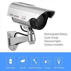 LESHP Dummy Camera Solar Battery Powered Flicker Blink LED Fake Indoor Outdoor Simulation Security Monitoring Bullet CCTV Camera(China)