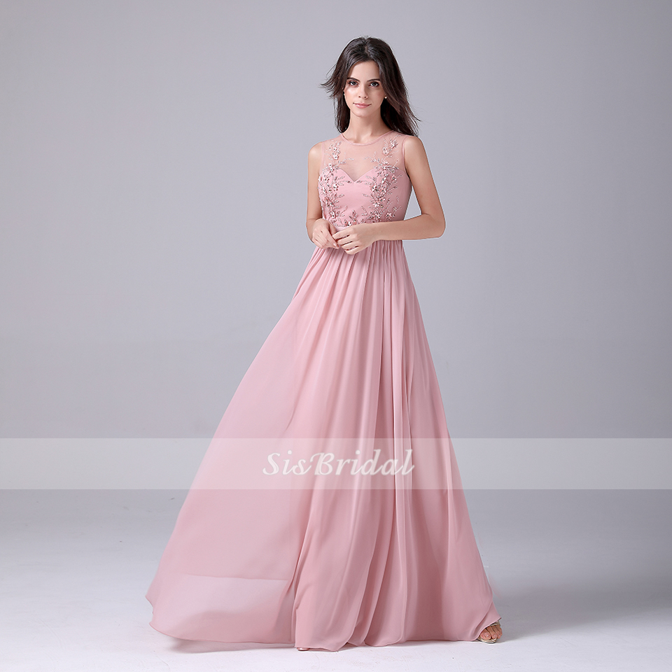 A-Line Scoop Neck Floor Length Chiffon Dress With Sequins Beading Prom Dresses Evening Dresses For Wedding Party